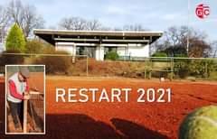"""Ist möglicherweise ein Bild von außen und Text """"GC RESTART 2021"""""""