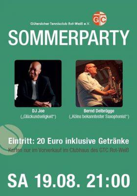 Sommerparty am kommenden Samstag, 19.08. im Clubhaus.